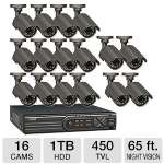 Q-See 16 Channel DVR Security System - 1TB HDD, 16 Weatherproof x Camera's, 450 TVL, 65 ft. Night Vision, 1/4&quot; Sharp CDD Image Sensor, Remote Viewing, Email Alerts, 60 ft. Cables (QT4760-16A6-5)