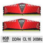 ADATA XPG Z1 DDR4 2x4GB DRAM Module Kit � Dual Channel, 2400MHz, CL16, 1.2 V, 10 Layer PCB w/2oz Copper, Supports Intel� Core i7 Haswell E HEDT/XMP 2.0, ROHS Complaint, Red - AX4U2400W4G16-DRZ