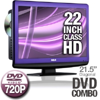 "RCA L22HD34DP 22"" Class LCD HDTV DVD Combo - 720p, 1366x768, 800:1 Native, 4000:1 Dynamic, 16:9, 5ms, 60Hz, VGA, HDMI"