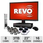 "Revo EZLink R164D3EB5EM23-3T Security Camera System - 16 Channels, 3TB HDD, 23"" LED Monitor, 3x Dome Cameras, 5x Bullet Cameras, 600 TVL, 6mm Lens, 1/3"" Color Sensor"