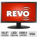 "REVO RM185-OR1 High Resolution Color LED Monitor - 1366x768, 18.5"" Viewing Area, 170/160 Degrees Of Viewing Angle, 1000:1, VGA, VESA Mount Compatible"