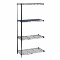 Safco Wire Shelving Add-On Unit, 48in x 24in Black