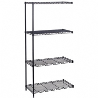 Safco Industrial 18-inches x 48-inches Wire Shelving Add-On Unit Black