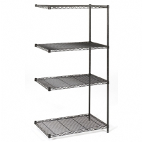 Safco Industrial 18-inches x 36-inches Wire Shelving Add-On Unit Black