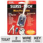 "Swiss Tech Micro-Pro XL900 9-in-1 Tool Kit - LED Flashlight, 2 Screwdrivers, Wire Stripper & Cutter, Sheet Shear, Pliers, 1/4"" Ruler, Key Ring (ST60519-CA)"