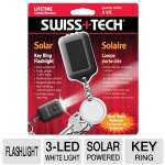 Swiss Tech Solar Flashlight - Solar Powered, 3-LED White Light, Pushbutton Control, Key Ring