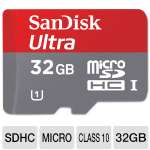 SanDisk Ultra 32GB microSDHC Flash Memory Card - Adapter, Class 10, Transfer Speeds Up To 30 MB/s, Waterproof, Temperature Proof, Shockproof (SDSDQUI-032G-A11)