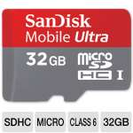 SanDisk Ultra Micro SDHC Flash Memory Card - 32GB, Class 6, UHS-I, 30MB/s, Adapter, (SDSDQY-032G-A11A)