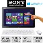 "Sony VAIO Tap 20 AIO PC - Intel Core i5, 4GB RAM,750GB HDD, 20"" Display,1600x900 Windows 8 64-bit, (Refurbished) - SVJ20235CXW"