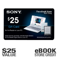 Sony EBOOK0225 $25.00 eBook Reader Gift Card - Good Towards eBook Store From Sony