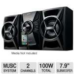 Sony MHC-EC609IP Mini Hi-Fi Music System - 2 Channel, 100 Watts Total, CD Player, AM/FM, iPhone/iPod Compatible, Remote