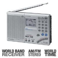 Sony ICF-SW7600GR World Band Receiver Radio - AM/FM Stereo, SSB, PLL Quartz Frequency  Tuning, 100 Station Presets, Dual World Time Clock