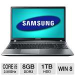 Samsung NP550P5C-S03CA Notebook PC - 3rd Gen. Intel Core i5-3210M 2.50GHz, 8GB DDR3, 1TB HDD, 1GB NVIDIA GeForce GT 630M, 15.6&quot; Display, Windows 8 64-bit