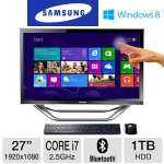 "Samsung All-In-One PC - 3rd Gen. Intel Core i7-3770T 2.50GHz, 8GB RAM, 1TB HDD, DVDRW, 27"" Display, AMD Radeon HD 7850M, Windows 8 64-bit, Keyboard & Mouse, (DP700A7D-S03US)"