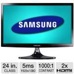 "Samsung 24"" Class LED Monitor - 1920 x 1080, 16:9, Mega Infinity Dynamic Contrast Ratio, 1000:1 Native, 5ms, HDMI, VGA, Built-in Speakers, TV Tuner, Rose Black (Refurbished) (T24B350ND-RB)"