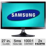 "Samsung 27"" Class LED Monitor - 1920 x 1080, 16:9, Mega Infinity Dynamic Contrast Ratio, 1000:1 Native, 5ms, HDMI, VGA, USB, TV Tuner, Rose Black (Refurbished) (T27B350ND-RB)"
