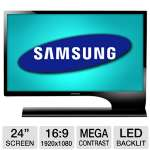 Samsung S24B750V 24&quot; Class Widescreen LED Monitor - 1920 x 1080, 16:9, Mega Infinity Dynamic Contrast Ratio, 1000:1 Native, 2ms, HDMI, VGA, Built-in Speaker, Energy Star, Black