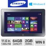 Samsung ATIV Smart PC 500T - Intel Atom Z2760 1.8GHz, 2GB DDR2L, 64GB eMMC, 11.6 in. Multi-Touch Display, Windows 8 32-bit (XE500T1C-A04US)