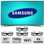 "Samsung 55"" Class LED 3D HDTV - 1080p, Clear Motion Rate 1200, 4x HDMI, USB, Wi-Fi, Smart TV, Built-in Camera, Smart Touch Remote Control & 4x 3D Glasses Included (UN55F8000BFXZA)"