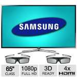 "Samsung 65"" Class 1080p LED 3D Smart HDTV - CMR 480, Wi-Fi, 4x HDMI, 2x 3D Glasses Included, Energy Star  - UN65F6400AFXZC"