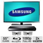 "Samsung UN55EH6070 55"" Class LED 3D HDTV with Blu-ray Disc Player - 1080p, 1920 x 1080, 120Hz, Clear Motion Rate 240, HDMI, USB, 2x 3D Active Glasses Included, Energy Star (Refurbished)"