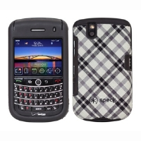 Speck BB9630-FTD-PLDWH Fitted Cell Phone Case - Compatible For BlackBerry Tour 9630, Fitted Plaid Design, Black/White