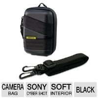 Sony LCM-CSVG/B Camera Carrying Case - For Cyber Shot T Series or W Series, Semi- Hard Exterior, Soft Interior, Protects from Scratches & Dust, Black
