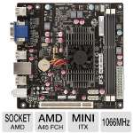 ECS HDC-I2/E-350D (V2.0) Motherboard - Mini-ITX, AMD A45 FCH, AMD Dual-Core Processor E-350D, DDR3 1066MHz, SATA II (3Gb/s), 6-CH Audio, Gigabit LAN, USB 2.0 (HDC-I2/E350-D)