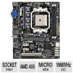 ECS A55F-M2 AMD Hudson FM1 Motherboard - Micro ATX, AMD A55 Chipset, Socket FM1, 1866MHz DDR3 (O.C.), SATA 3.0 Gb/s, RAID, 6-CH Audio, Gigabit LAN, AMD Dual Graphics Ready