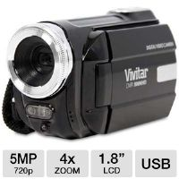 Vivitar DVR508-BLK Digital Video Recorder Camcorder - 5 MegaPixels, 1.8&quot; LCD, 4x Digital, 8MB Internal, 2GB NAND Flash, SD Card Slot, USB, Black