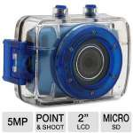 Vivitar DVR785HD-BLU Action Waterproof Camera - 5 Megapixels, 2&quot; Touchscreen LCD, MicroSD Card Slot, Shockproof Casing, Blue