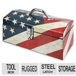 Sainty Intl Art Tool Box - Old Glory, Rugged All Steel End Cap Construction, Nickel Plated Steel Latch and Hinge