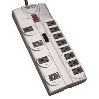 TLP1208TEL Surge Suppressor, 12 Outlets, 8 ft Cord, 2160 Joules, Silver