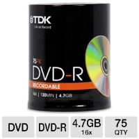 Imation 61932 TDK DVD-R Spindle - 4.7GB, 16x, 75-Pack