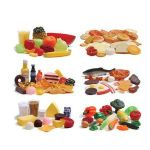 "2"" Diam. cracker, the plastic and vinyl foods add realism to pretend play. 111 pc. Set. Ages 3 yrs. +."