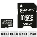 Transcend TS32GUSDHC4 MicroSDHC Card - 32GB, Class 4, Adapter