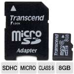 Transcend 8GB MicroSDHC Card - Class 6, With Adapter (TS8GUSDHC6)