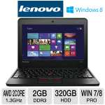 "Lenovo ThinkPad X131e 3372-2WU Notebook PC - AMD Dual-Core E-300 1.3GHz, 2GB DDR3, 320GB HDD, 11.6"" Display, Windows 7 Professional 64-bit / Windows 8 Professional 64-bit"