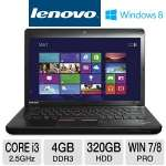 "Lenovo ThinkPad Edge E430 Notebook PC - 3rd generation Intel Core i3-3120M 2.5GHz, 4GB DDR3, 320GB HDD, DVDRW, 14"" Display, Windows 7 Professional 64-bit / Windows 8 Pro 64-bit (627155U)"