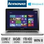 "Lenovo IdeaPad U410 Ultrabook - 3rd generation Intel Core i7-3537U 2.0GHz, 8GB DDR3, 1TB HDD + 24GB SSD, 1GB NVIDIA GeForce 610M, 14"" Display, Windows 8 64-bit (59359210)"