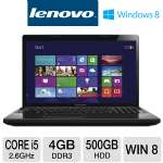 "Lenovo Essential G580 Notebook PC - 3rd generation Intel Core i5-3230M 2.6GHz, 4GB DDR3, 500GB HDD, DVDRW, 15.6"" Display, Windows 8 (59359084)"
