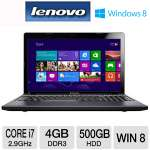 Lenovo Z580 Notebook PC - 3rd generation Intel Core i7-3520M 2.9GHz, 4GB DDR3, 500GB HDD, DVDRW, 15.6&quot; Display, Windows 8 64-bit (59345242)