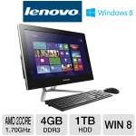 "Lenovo C345 All-In-One PC - AMD Dual-Core E2-1800 1.70GHz, 4GB DDR3, 1TB HDD, DVDRW, 20"" Display, AMD Radeon HD 7340, Windows 8 64-bit, (57312396)"