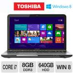 Toshiba Satellite L855-S5383 Notebook PC - 8GB, Intel Core i7-3630QM 2.4GHz, 8GB DDR3, 640GB HDD, DVDRW, 15.6&quot; Display, Windows 8 64-bit (PSKFUU-02X003)
