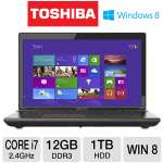 Toshiba Qosmio X875-Q7380 PSPLZU-001002 Notebook PC - 3rd generation Intel Core i7-3630QM 2.4GHz, 12GB DDR3, 1TB (2X 500GB) HDD, DVDRW, 3GB NVIDIA GeForce GTX 670M, 17.3&quot; Display, Windows 8 64-bit