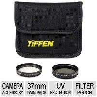 Tiffen 37PTP 37mm Photo Twin Pack Box - UV Protection Filter, Circular Polarizer, Filter Pouch