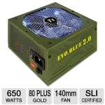 Thermaltake 650W EVO_BLUE 2.0 Power Supply - 80+ Plus Gold, ATX, 105�C Japanese Capacitors, Single +12V Rail, 140mm Fan, Silent Operation, Supports AMD & Intel, Green (EVO-650M-A)
