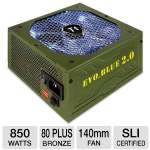 Thermaltake 850W EVO_BLUE 2.0 Power Supply - 80+ Plus Gold, ATX, 105C Japanese Capacitors, Single +12V Rail, 140mm Fan, Silent Operation, Supports AMD & Intel, Green (EVO-850M-A)