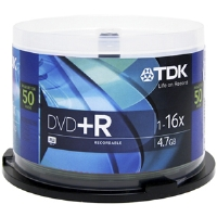 TDK 48519 50 Pack 16X DVD+R Spindle - 4.7GB