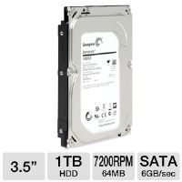 Seagate ST1000DM003 Barracuda 1TB Hard Drive - 7200RPM, 64MB, SATA 6Gb/s